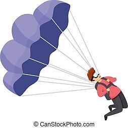 Young parachuter icon, cartoon style