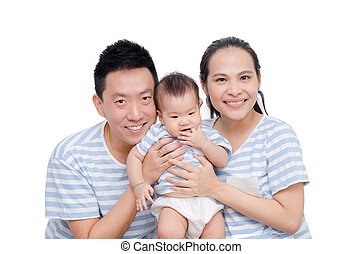 Young parent smile with their child over white