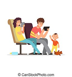 Young parents do not pay attention to child vector illustration