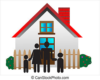 young parents, happy family, family in front of house, sweet...