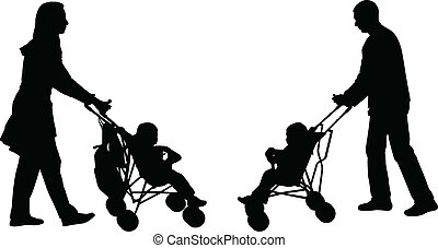 parents pushing strollers - young parents pushing strollers...