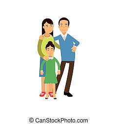 Young parents standing with their daughter, happy family concept vector Illustration