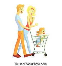 Young Parents With Little Girl Shopping, Happy Loving Families With Kids Spending Weekend Together Vector Illustration