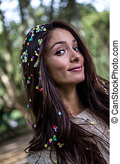 young party woman with confetti