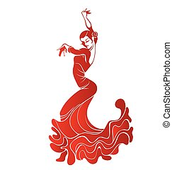 Young passionate woman dancing flamenco - Stilized...