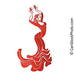 Young passionate woman dancing flamenco - Stilized ...