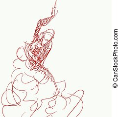Young passionate woman dancing flamenco - Stilized in sketch...