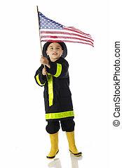 Young Patriotic Fireman