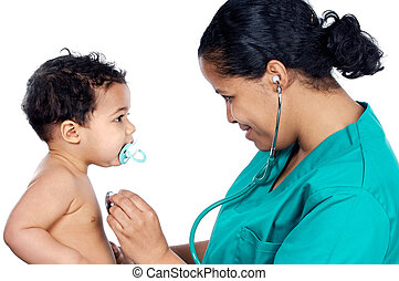 Young pediatrician with baby a over white background