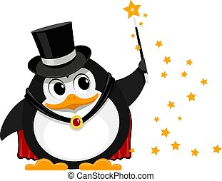 Young penguin magician. Cartoon image of a small funny penguin magician on stage with a magic wand. Young wizard at the concert. Vector illustration