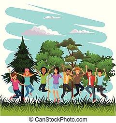 young people, šťastný, a, skákání