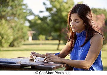 Young people and education, girl studying for university test