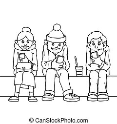 Young people and middle-aged woman isolated. Sit on the bench. Attention to each other do not pay. Listen to musi.