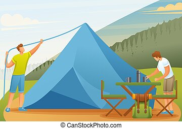 Young people at the camping set up tents and prepare food. Flat 2D character. Concept for web design