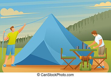 Young people at the camping set up tents and prepare food. Vector illustration. Flat 2D character