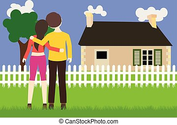 Young people bought the new house, vector flat illustration