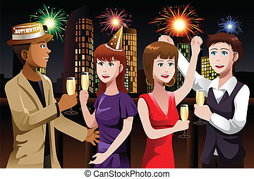 Young people celebrating New Year - A vector illustration of...