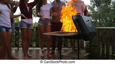Young People Cheerful Cooking Barbecue Happy Frineds Group...