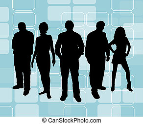 Young people on retro background