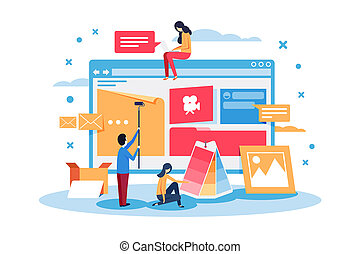 Young people create web site design.