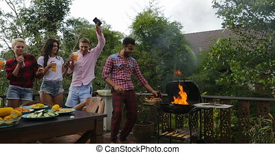 Young People Dancing Cooking Barbecue Friends Group Cheerful...