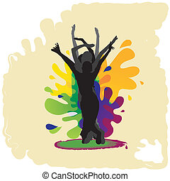 Young people dancing - Dancing silhouettes on colored...