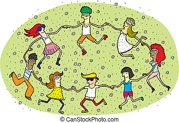 Young People Dancing in a Circle on Green Grass Field with Flowers. Illustration is in eps10 vector mode!