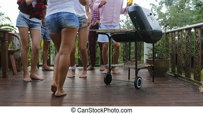 Young People Dancing While Cooking Barbecue Frineds Group...