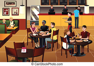 Young people eating pizza together in a restaurant