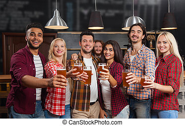 Young People Group In Bar, Happy Smiling Friends Pub, Drink Beer Cheers