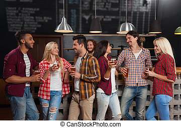 Young People Group In Bar, Happy Smiling Friends Pub, Drink Beer Talking