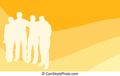 Young people - Group of young people on retro background