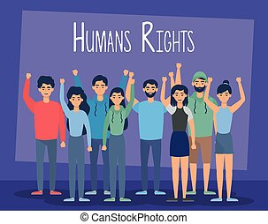young people group with human rights label vector...