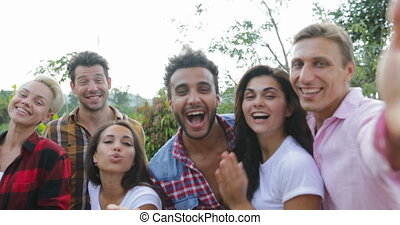 Young People Happy Smiling Take Selfie Photo Friends Mix...