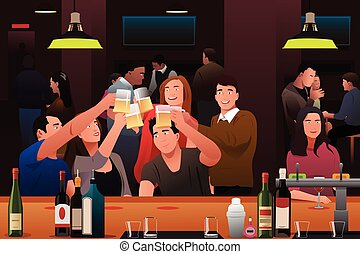 Young people having fun in a bar - A vector illustration of...