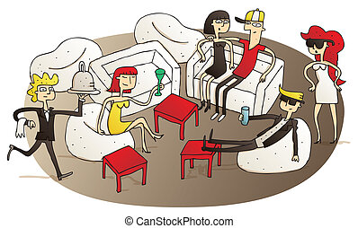 Young people having fun in V.I.P. lounge vignette illustration. Illustration is hand drawn, elements are isolated and is in eps10 vector mode.