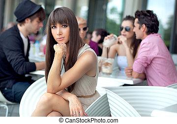 Young people having lunch break