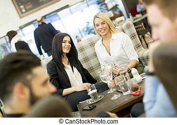 Young people in the cafe