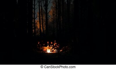 Young people in the winter forest sitting by the fire at night