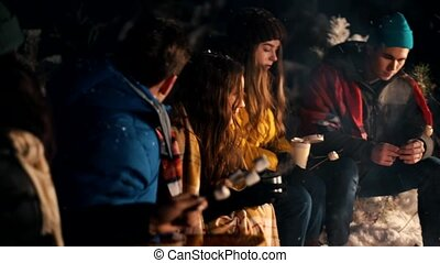 Young people in the winter forest sitting by the fire. Warming up marshmello by the fire