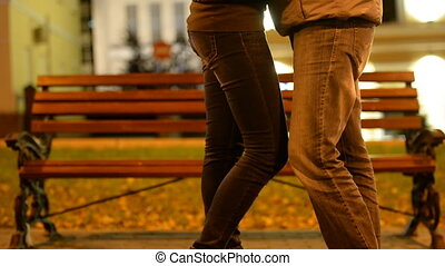 Young people on a date in the park.