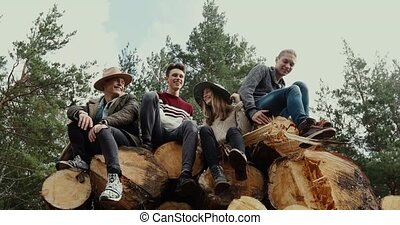 Young people on stack of logs
