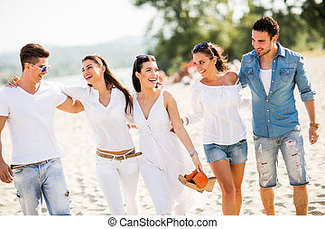 Young people on the beach