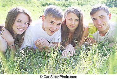 young people on the grass