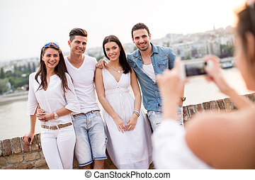 Young people on the waterfront