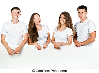 young people out white board