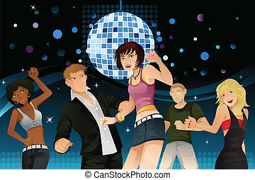 A vector illustration of young people partying and dancing in a disco club