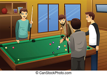 Young people playing billiard - A vector illustration of...