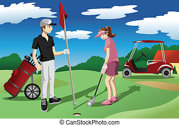 Young people playing golf