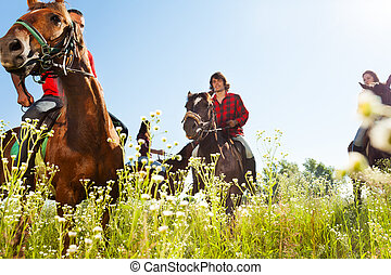 Young people riding bay horses in the meadow